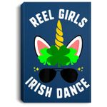 St Patricks Day Reel Girls Irish Dance Unicorn Kids Shamrock Portrait Canvas
