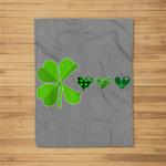 St Patrick's Day Shamrock Eat Hearts Funny Boys Girls Gift Fleece Blanket