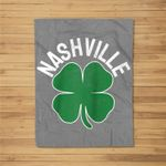St Patrick's Day Shamrock Nashville Tennessee Irish Green Baseball Fleece Blanket