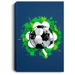 St Patrick's Day Soccer - St. Pattys - Shamrock Portrait Canvas