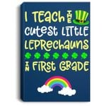 St Patricks Day Teacher First Grade Leprechaun Rainbow Portrait Canvas