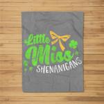 St Patricks Day Top For Girls - Little Miss Shenanigans Fleece Blanket