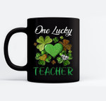 St Patricks Day Women's Shamrock Buffalo Plaid Teacher Black Mugs