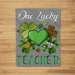 St Patricks Day Women's Shamrock Buffalo Plaid Teacher Fleece Blanket