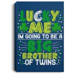 ST PATRICKS Pregnancy Announcement Gift for brother of twins Portrait Canvas