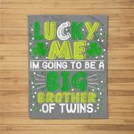 ST PATRICKS Pregnancy Announcement Gift for brother of twins Fleece Blanket