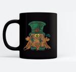 St. Pat Gnome Clover Hat St. Patrick's Day Irish Love Gnome Black Mugs