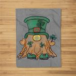 St. Pat Gnome Clover Hat St. Patrick's Day Irish Love Gnome Fleece Blanket