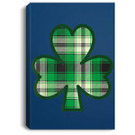 St. Patrick's Day Irish Saint Paddy's Green Plaid Shamrock Portrait Canvas
