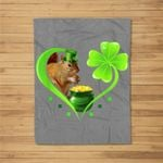 St Patricks Day Squirrel Shamrock Heart- Leprechaun Squirrel Fleece Blanket