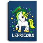 St Patricks Day Unicorn - Lepricorn Portrait Canvas