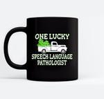 St Patricks Shamrock for Luck SLP Speech Pathologist Black Mugs