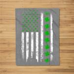 St. Patrick's Day Green IRISH American USA Flag Shamrock Fleece Blanket