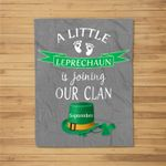 St. Patrick's Day Pregnancy Announcement Design September Baseball Fleece Blanket