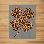 St. Patrick's Day Shamrock 4 Four Leaf Cheetah Leopard Print Fleece Blanket