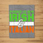 St. Patrick's Paddys Day Irish Italian Green Shamrock Gift Fleece Blanket