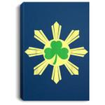 St. Patricks Day Shamrock Irish Ireland Filipino Flag Portrait Canvas