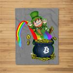 St. Patrick�s Day Bitcoin Leprechaun�s Pot of Bitcoin Fleece Blanket
