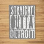 STRAIGHT OUTTA DETROIT Michigan Vintage Gift Fleece Blanket