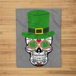 Sugar Skull St Patrick's Day Irish Day of the Dead Fleece Blanket