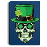 Sugar Skull St Patricks Day Gift Lucky Sugar Skull Portrait Canvas