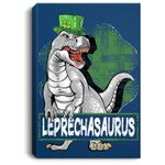 T Rex Lovers Leprechasaurus Leprechaun T Rex St Patricks Day Portrait Canvas
