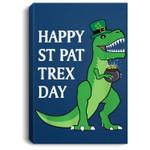 T-Rex Leprechaun Funny St. Patrick's Day Happy St Pat Trex Portrait Canvas