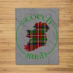 Tartan Ireland Design, Scotch Irish Pride Gift Fleece Blanket