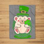 St. Patrick's Day Shamrock Hedgehog Irish Fleece Blanket