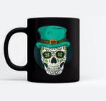 Sugar Skull St Patrick's Day of the Dead Shamrock Clover Baseball Black Mugs