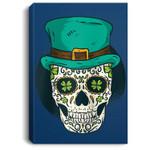 Sugar Skull St Patrick's Day of the Dead Shamrock Clover Baseball Portrait Canvas