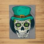 Sugar Skull St Patrick's Day of the Dead Shamrock Clover Baseball Fleece Blanket