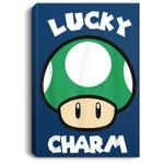 Super Mario St. Patty's Lucky Charm Mushroom Graphic Portrait Canvas
