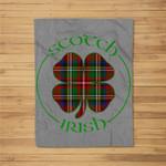 Tartan Shamrock Scotch Irish Pride Graphic Fleece Blanket