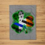 Thin Blue Line American Flag Irish Shamrock Police Fleece Blanket