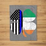 Thin Blue Line Flag Irish American St. Patrick's Day Fleece Blanket