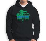 Thin Blue Line Irish Shamrock Police Gift USA American Flag Sweatshirt & Hoodie