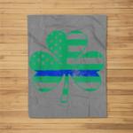 Thin Blue Line Irish Shamrock Police Gift USA American Flag Fleece Blanket