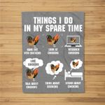 Things I Do In My Spare Time Chicken Funny Chicken Farmer Fleece Blanket