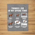 Things I Do In My Spare Time Horse Riding Funny Farmer Gift Fleece Blanket