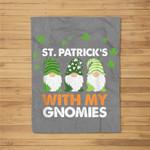 Three Gnomes St. Patrick�s Day 2021 Gift Cute Gnomies Fleece Blanket