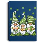 Three Green Irish Gnomes Shamrock Clover St. Patrick's Day Portrait Canvas
