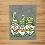 Three Green Irish Gnomes Shamrock Clover St. Patrick's Day Fleece Blanket