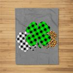 Three Leopard Buffalo Plaid Shamrock Green-Clover Boy Girl Fleece Blanket
