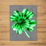Tie Dye Shamrock St Patricks Day Women Men Green Fun Fleece Blanket