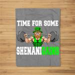Time For Some Shenanigains Lifting Leprechaun St Patrick Day Fleece Blanket