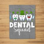 Tooth Leprechaun Hat Dental Squad St Patrick's Day Fleece Blanket