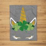 Unicorn Face Shamrock Cute St Patrick's Day For Girls Kids Fleece Blanket