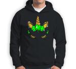 Unicorn Face St Patricks Irish Shamrock Gift Girls Kids Sweatshirt & Hoodie