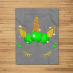Unicorn Face St Patricks Irish Shamrock Gift Girls Kids Fleece Blanket